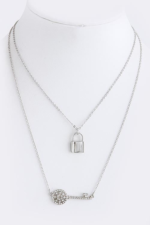 Layered Lock & Key Crystal Necklace - My Jewel Candy