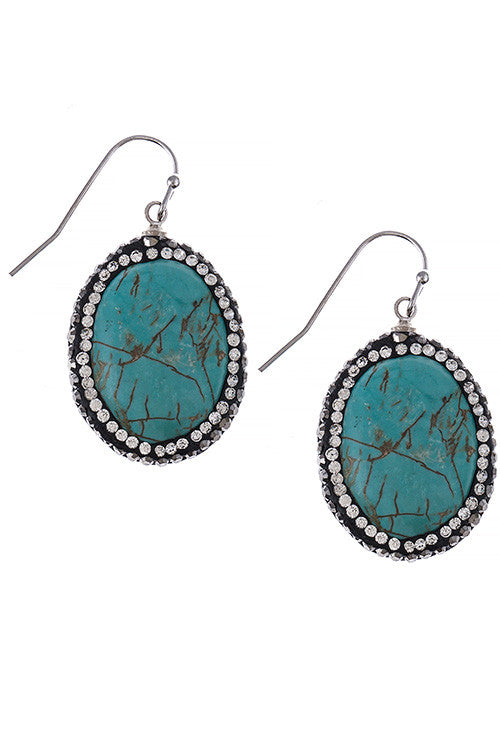 Oval Faux Stone Ornate Bezel Earrings - My Jewel Candy - 1