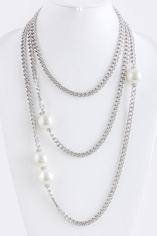 Chain and Pearl Layered Necklace - My Jewel Candy