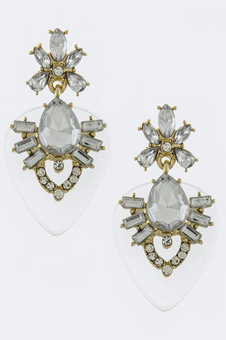 Baroque Style Crystal Stud Clear Acrylic Back Ornate Earrings - My Jewel Candy - 1
