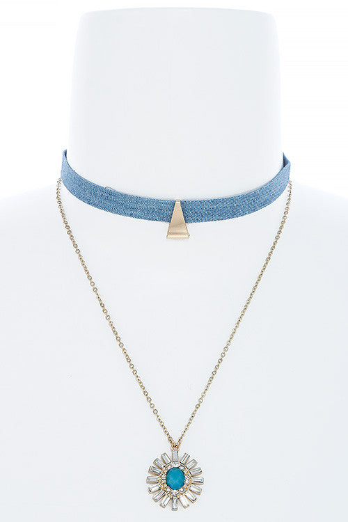 Denim Choker Crystal Sunburst Layered Necklace - My Jewel Candy - 1