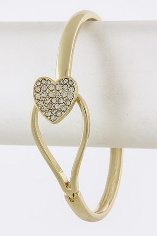 Crystal Encrusted Heart Bracelet - My Jewel Candy