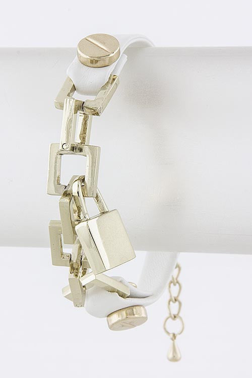 Silver gold Chain Bracelet with Lock - My Jewel Candy