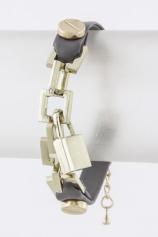 Silver Gold Bracelet with Lock - My Jewel Candy