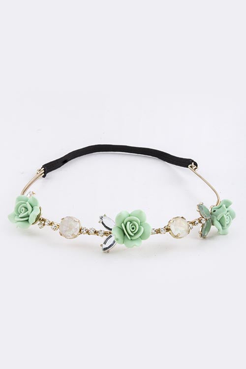 Snap-Chat Rose Flowers Headband - My Jewel Candy - 1