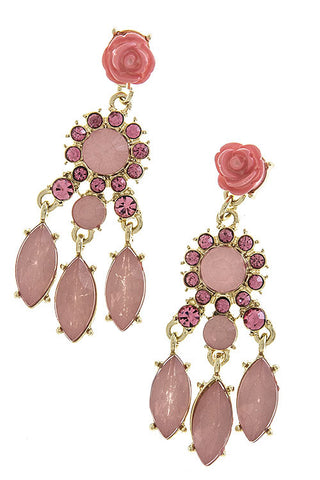 Pink Rose Crystal Earrings - My Jewel Candy