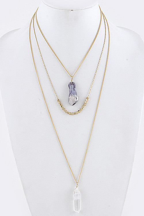 Layered Crystal Gem Necklace - My Jewel Candy
