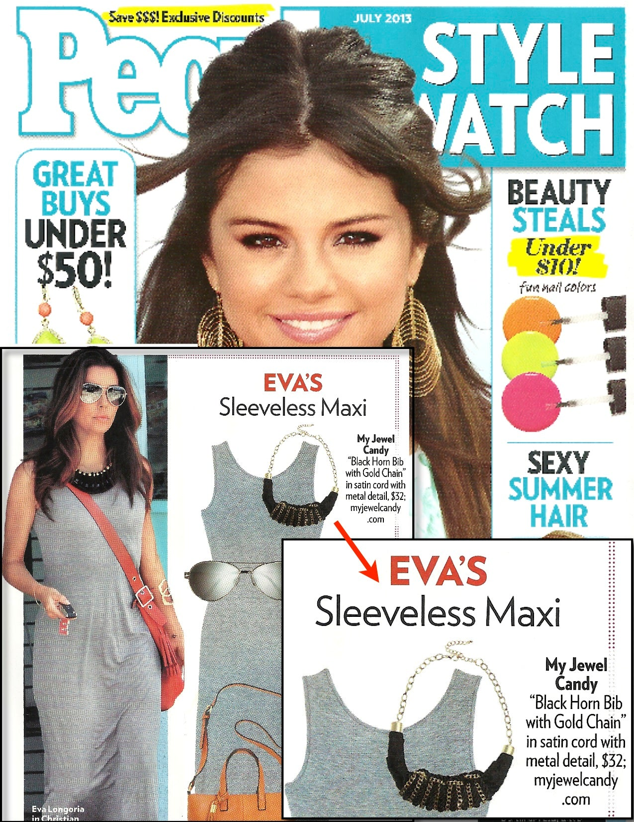 c0f00522abf Eva Longoria Necklace Black Horn Bib with Gold Chain Necklace in ...