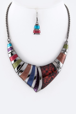 LA Iconic Mix Stripes Collar Necklace set - My Jewel Candy