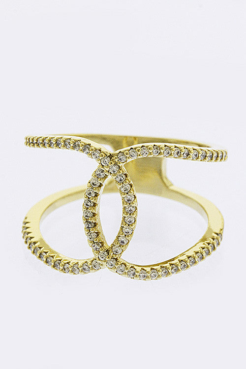 Interlocking Crystal Pave Ring - My Jewel Candy