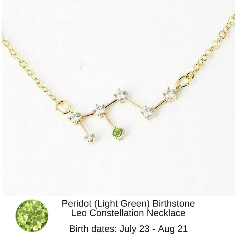 "Leo Constellation Zodiac Necklace with Peridot Birthstone - ""Star Candy"""