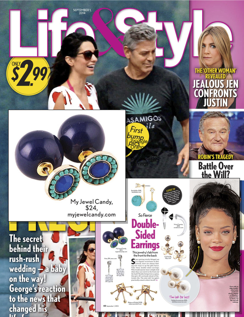 Navy & Sea Green Beaded Double-Sided Earrings (As seen in Life & Style Magazine) - My Jewel Candy - 2