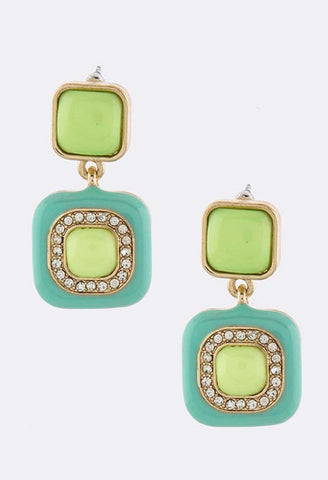 Minty-Lime Squares Earrings - My Jewel Candy - 1