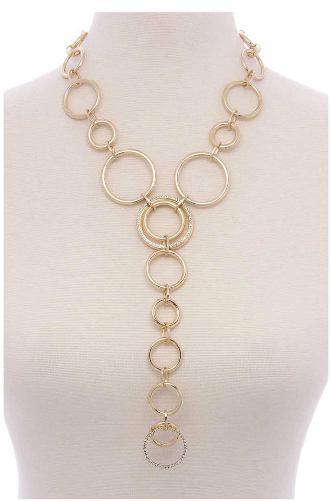 Chanel Inspired Celebrity Circle Y-Necklace (As seen on Cindy Crawford in First for Women)
