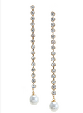 Long Crystal Lined Pearl Drop Earrings