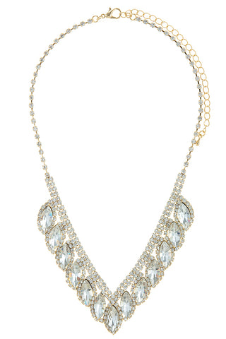 Marquise Crystal Lined Bridal Necklace