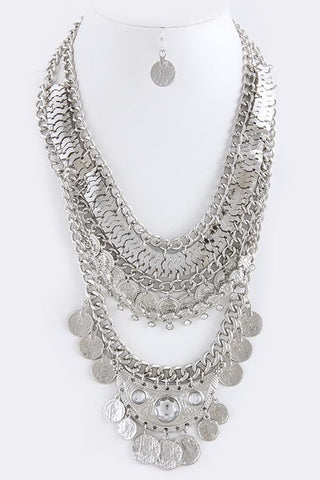 Multi Coin Fringe Tiered Necklace - My Jewel Candy