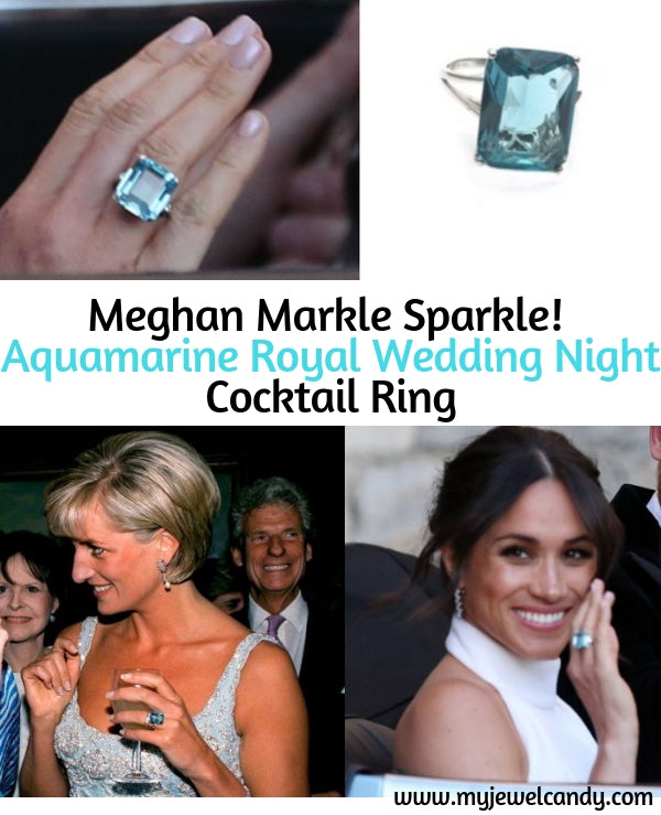 Aquamarine Royal Wedding Cocktail Ring