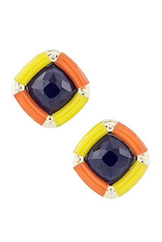 Square Blue, Orange & Yellow Earrings - My Jewel Candy