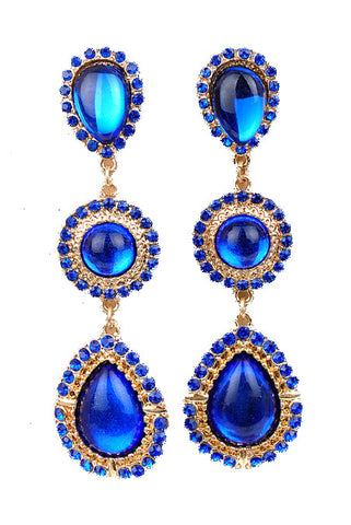 Sapphire Blue Gemstone Teardrop Earrings - My Jewel Candy