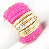 Pink Bar w Gold & Crystals Ring - My Jewel Candy - 1