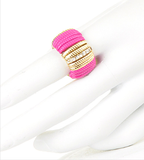 Pink Bar w Gold & Crystals Ring - My Jewel Candy - 2