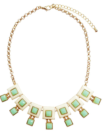Mint & Cream Square Necklace - My Jewel Candy