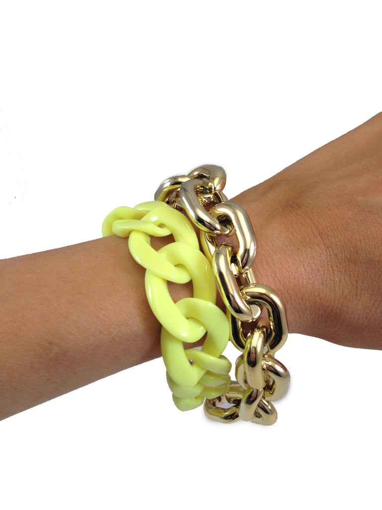 Neon & Gold Layered Chain Bracelet - My Jewel Candy - 1