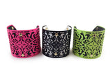 Neon Pink Metal & Leather Cuff Bracelet - My Jewel Candy - 2