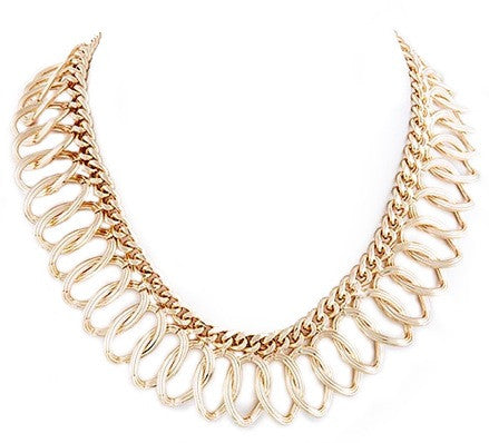 Oval Chain Collar Necklace - My Jewel Candy