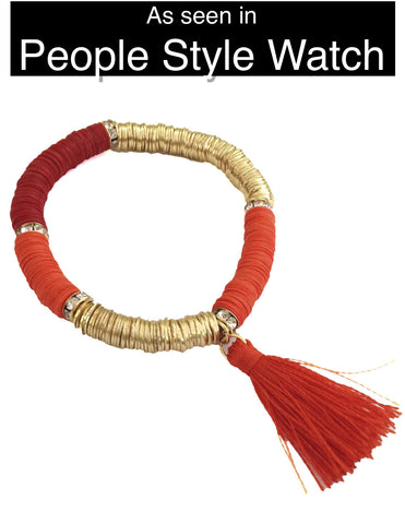 Tropical Tassel Bracelet - Shades of Orange - My Jewel Candy - 1