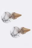 Orb & Cone Double-Sided Earrings (White) - My Jewel Candy - 1