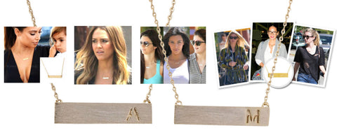 Celebrity Letter Bar Necklace Trend - My Jewel Candy - 1