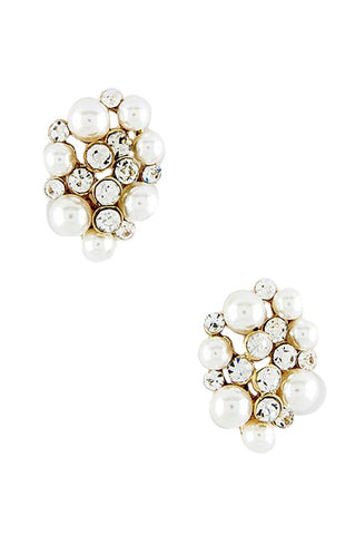 Pearl & Crystal Cluster Earrings - My Jewel Candy
