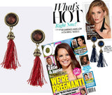 Crimson Red Tassel Earrings (As Seen in OK! Magazine) - My Jewel Candy - 1