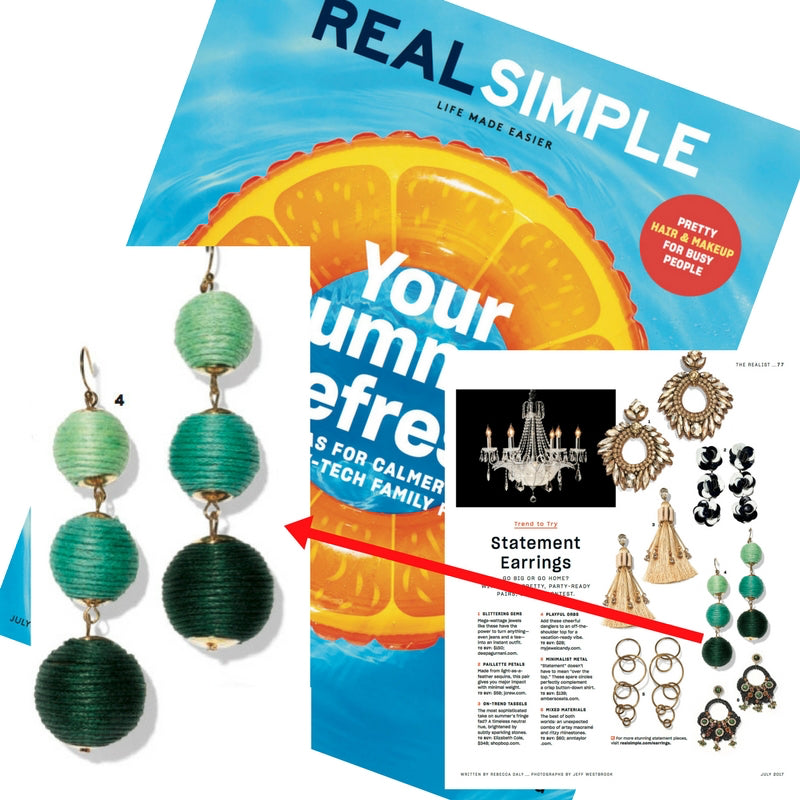 Ombre Scoops Pom Pom Earrings (As Seen in Real Simple Magazine)