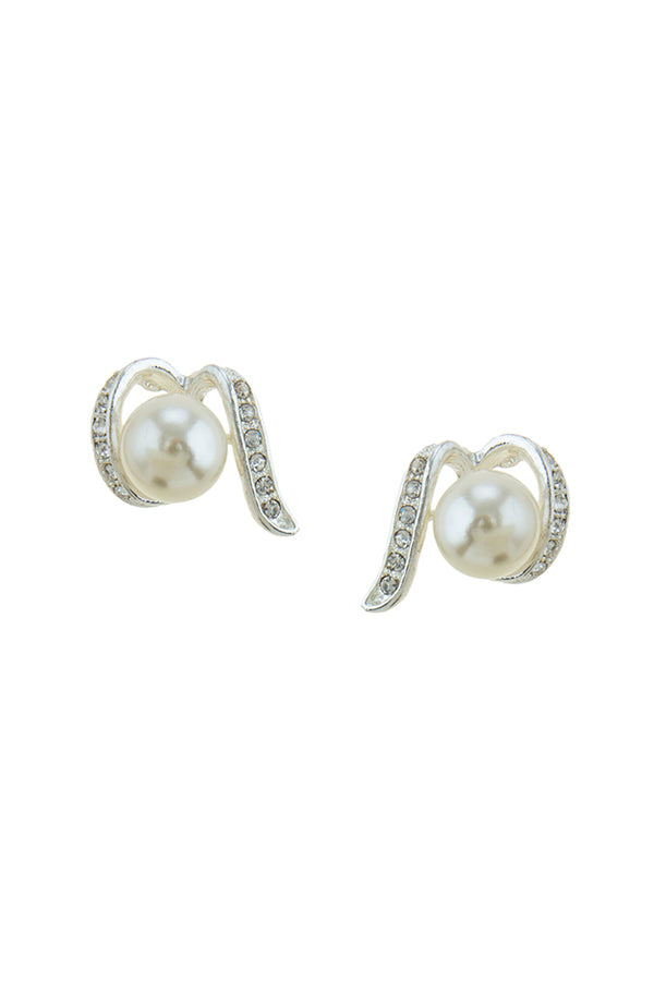Rhinestone Wrapped Pearl Earrings