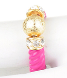 Gold Ball & Crystal Pink Ring - My Jewel Candy - 1