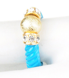 Gold Ball & Crystal Blue Ring - My Jewel Candy - 1