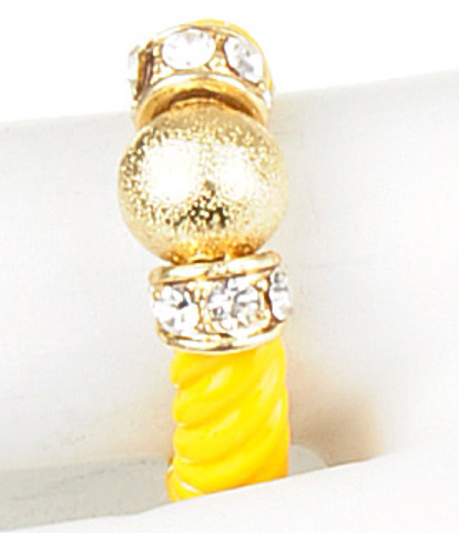 Gold Ball & Crystal Yellow Ring - My Jewel Candy - 1