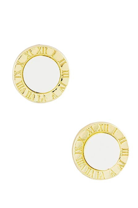Roman Numeral Gold & White Earrings - My Jewel Candy