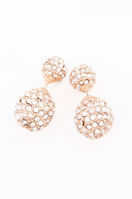 Oval Double-Sided Crystal Earrings (Gold) - My Jewel Candy - 1