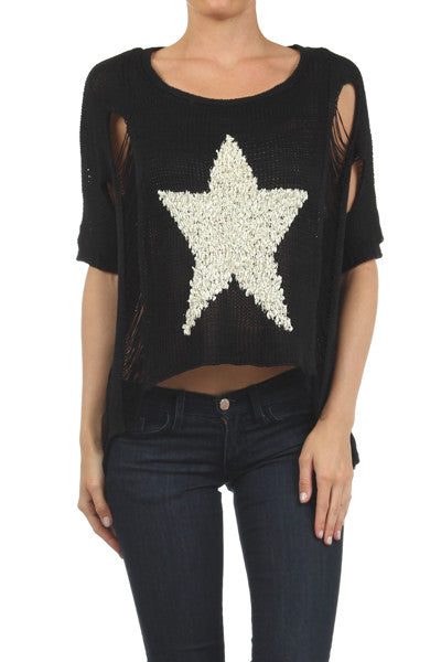 Distressed Short Sleeve Star Sweater with Hi-Lo Hem - My Jewel Candy - 1
