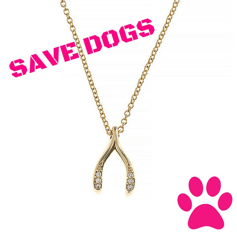 Save the Dogs Wishbone Necklace - Social Saint Collection - My Jewel Candy - 1