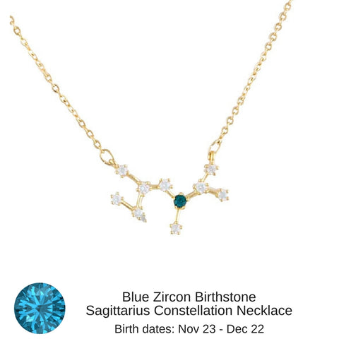 "Sagittarius Constellation Zodiac Necklace with Blue Topaz Birthstone - ""Star Candy"""