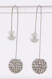 Double-Sided Dangle Earrings (Crystal & Pearl) - My Jewel Candy - 3