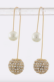 Double-Sided Dangle Earrings (Crystal & Pearl) - My Jewel Candy - 1