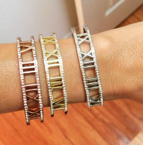 Roman Numeral Crystal Encrusted Bracelets - My Jewel Candy