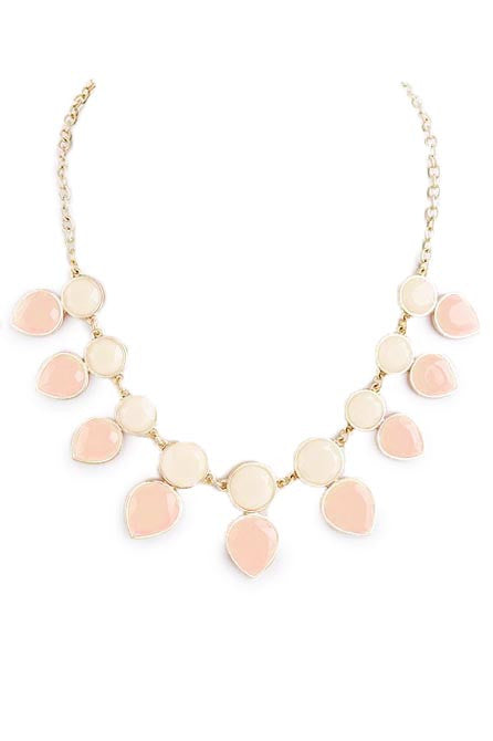 Beige Round and Teardrop Necklace - My Jewel Candy - 1