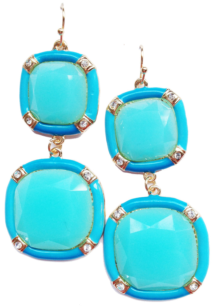 Blue & Turquoise Square Drop Earrings - My Jewel Candy